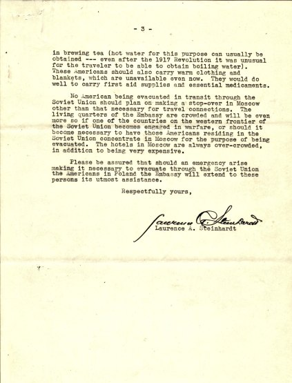 Letter from Ambassador Laurence Steinhardt to Ambassador Biddle, August 26, 1939, P.3