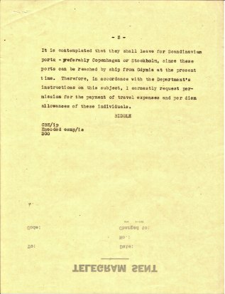 Telegram from Ambassador Biddle to the Department of State, August 21, 1939, P.2.