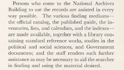 "Pamphlet ""How The National Archives Serves the Government And the Public"" July 1939 (detail). (RG 64 P 74)"