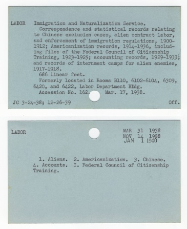 An entry for an accession, arranged by title of agency, with a record of updates to it, and the subject authorities under which it was indexed (NAID 4521087).