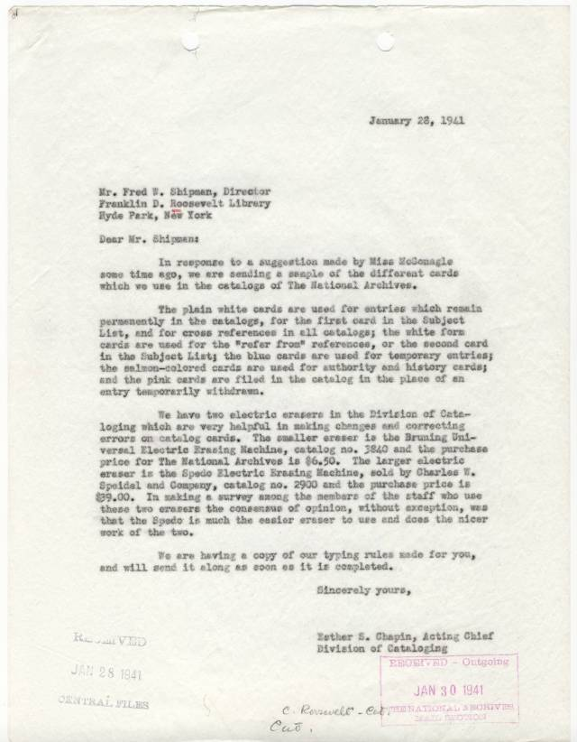 RG 64, A1 36 - file Firms, Individuals, and Orgs - Chapin Letter to FDR Library re Card Colors and Supplies, 1941
