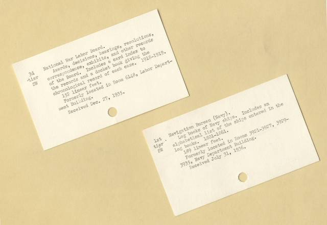 RG 64, A1 36 - file Procedure - Temp. Cards for Accessions, attached to Aug. 6, 1936 Memo