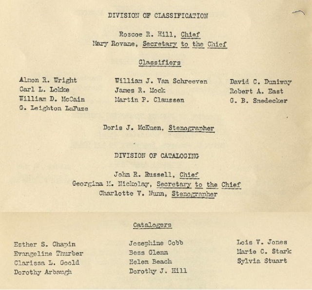 Roster of Divisions of Cataloging and Classification, 1937 - from Register, pp. 4-5 - pt. 1