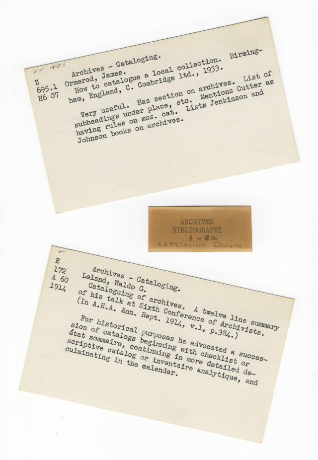 Sample Cards from Archives Bibliography - RG 64, A1 37
