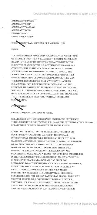 Telegram from Ambassador Walter Stoessel to the Secretary of State