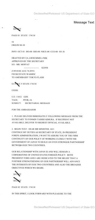Telegram from Secretary Kissinger to Japanese Foreign Minister Kimura
