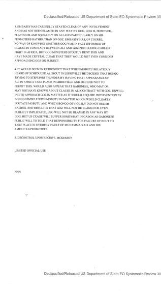 Telegram from American Embassy Libreville subject: Muhammad Ali (exhibition fight)