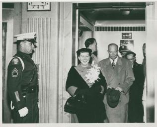 The Eisenhowers leaving Fitzsimons Army Hospital.