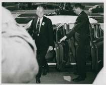 Secretary of State John Foster Dulles' visit on October 11, 1955 to confer with President Eisenhower prior to the Geneva Convention of the Big Four foreign ministers.