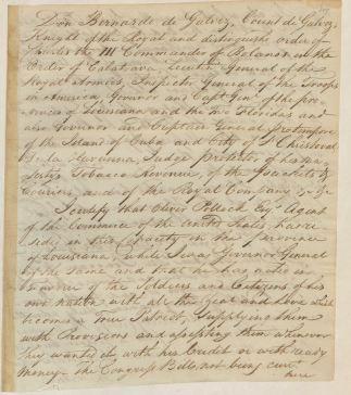 Certificate from Bernardo de Galvez, 5/1/1785