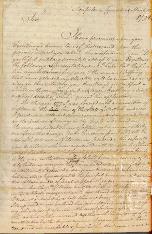 Letter from Caleb Brewster to President George Washington, in Series NAID 583574, Letters Received (Misc?), March 15, 1792, p. 1.