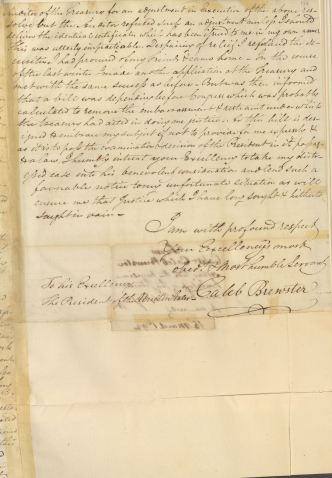Letter from Caleb Brewster to President George Washington, in Series NAID 583574, Letters Received (Misc?), March 15, 1792, p. 3.