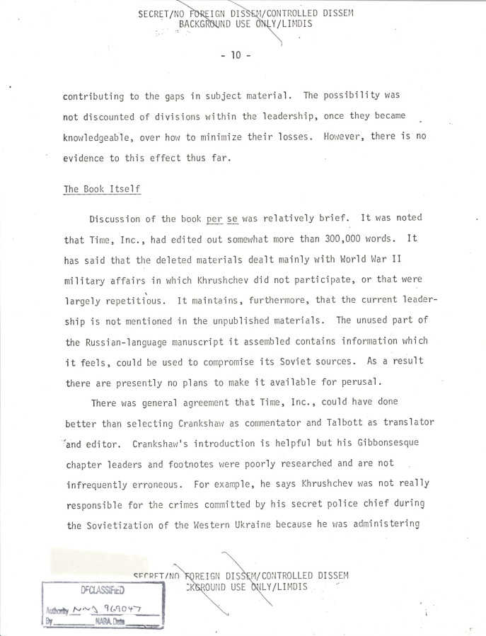 INR Roundtable Discussion of Krushchev Remembers, SNF.POL 6 USSR State Memo to President, Page 10.