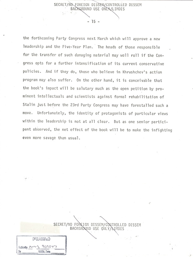 INR Roundtable Discussion of Krushchev Remembers, SNF.POL 6 USSR State Memo to President, Page 15.