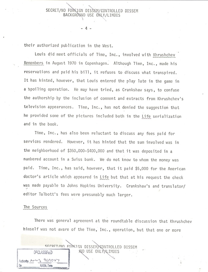 INR Roundtable Discussion of Krushchev Remembers, SNF.POL 6 USSR State Memo to President, Page 4.