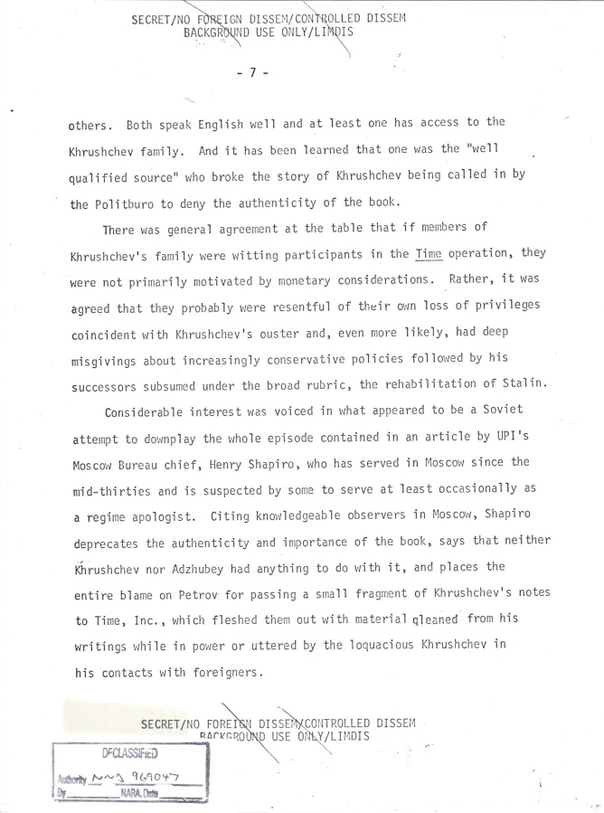 INR Roundtable Discussion of Krushchev Remembers, SNF.POL 6 USSR State Memo to President, Page 7.