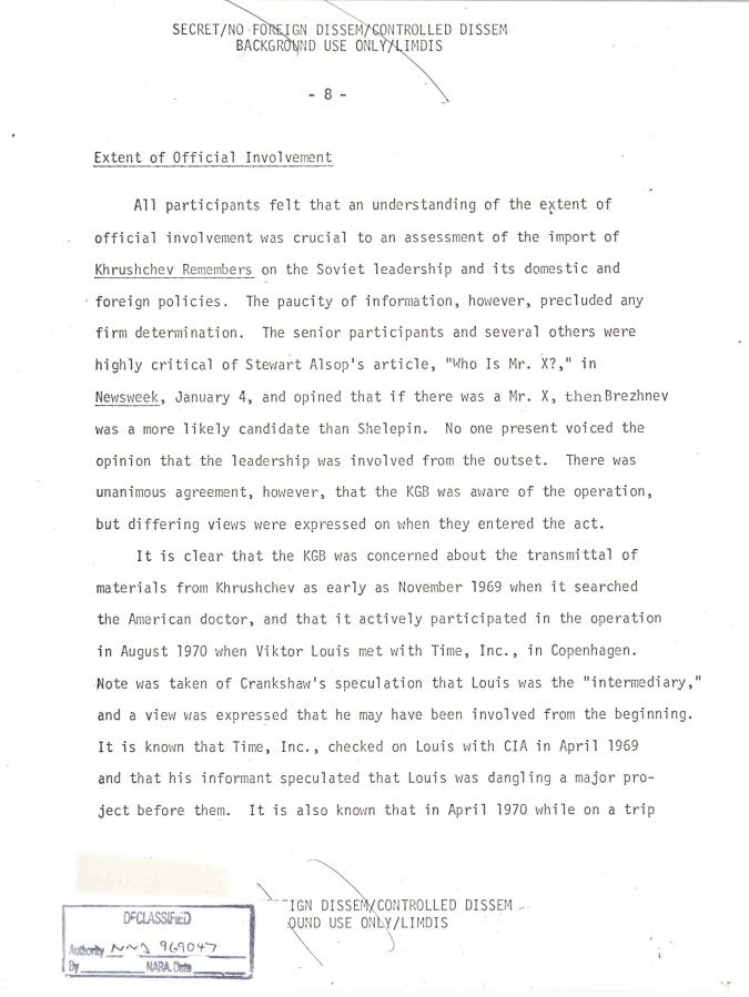 INR Roundtable Discussion of Krushchev Remembers, SNF.POL 6 USSR State Memo to President, Page 8.