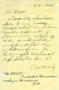 Don May to Dr. Boyce and Boyce to Stewart; April 21, 1945; Decimal Files, 1936-1942 (NAID 7863878)