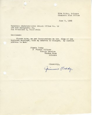 Jimmie Toddy to Veterans Administration Branch Office Number 12; 6/7/1948; Decimal Files (NAID 7863878)