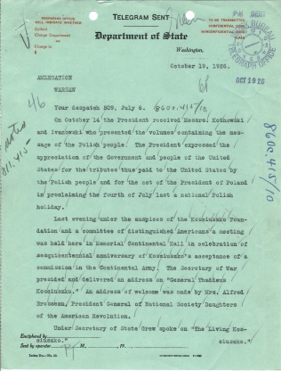 Telegram 46 to U.S. Legation in Poland, p. 1