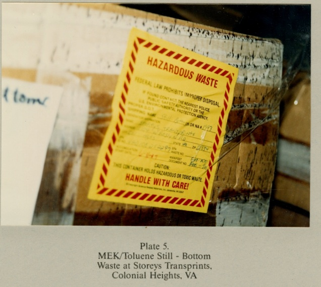 Plate 5. MEK/Toluene Still - Bottom Waste at Storeys Transprints, Colonial Heights, VA