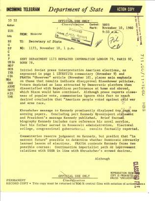 Telegram 1173 US Embassy, Moscow to Department of State, Nov 10, 1960. File 711.00/11-1060