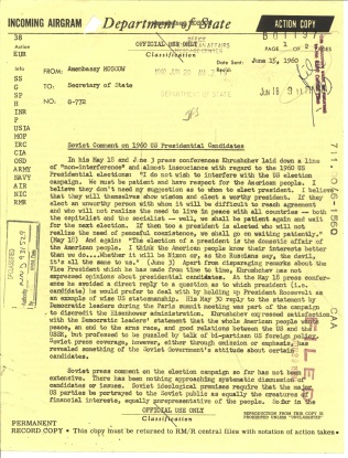 Airgram G-772 U.S. Embassy, Moscow to Department of State, June 15, 1960. File 711.00/6-1560