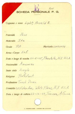 Identity Card of Ronald Light