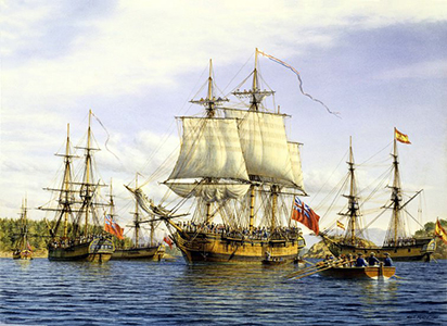 Painting of the ships Discovery and Chatham.