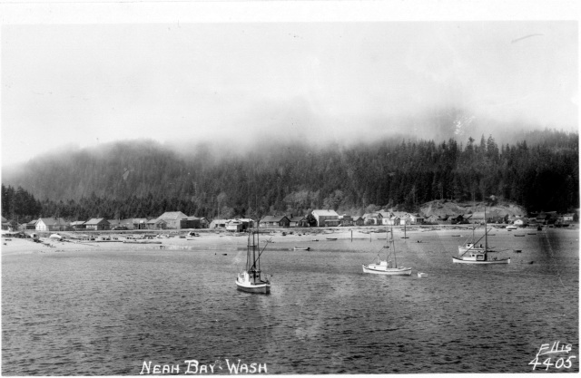 A photo postcard of Neah Bay, ca. 1950.
