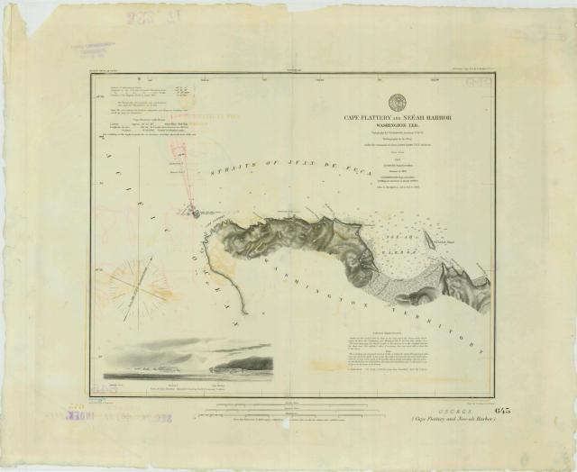 Map of Cape Flattery and Neeah Harbor.