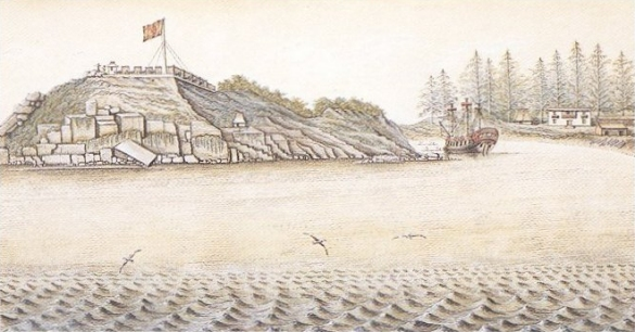 Drawing, Reconstruction of Fort San Miguel.
