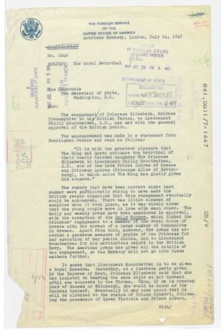 U.S. Embassy Great Britain to Department of State, Despatch 1649, July 14, 1947, 1947, file 841.0011/7-1447, 1945-49 Central Decimal File, RG 59