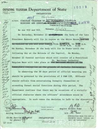 Circular Telegram 937. Nov 22, 1963 p1