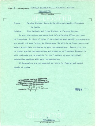 Circular Telegram 939. Nov 23, 1963