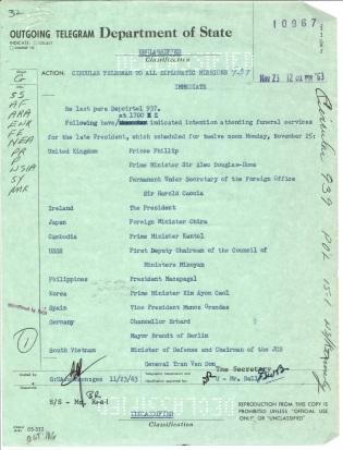 Circular Telegram 939. Nov 23, 1963