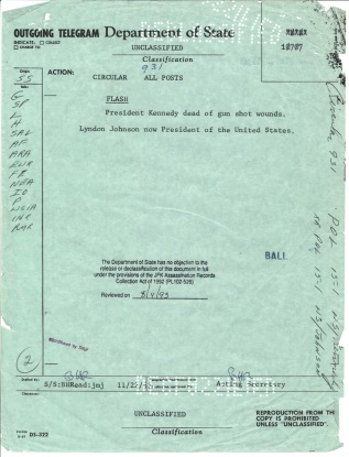 Circular Telegram 931, Nov 22, 1963