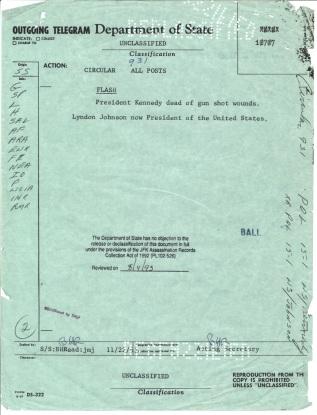 Circular Telegram 931, Nov 22, 1963