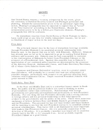 "Intelligence Memo ""President Kennedy's Death-Some Near Time Considerations"" p2"