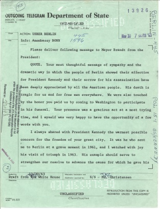 Telegram 445. Nov 30, 1963 p1