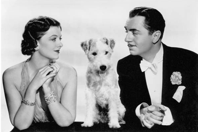 Myrna Loy, William Powell, and dog Skippy from the Thin Man