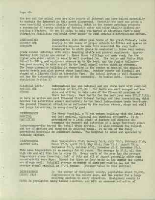 These documents outline Independence's features according to the city council. While the title for the school's section may be toned down, Independence detailed their hard work towards achieving an excellent educational system. National Archives at Denver, RG 341